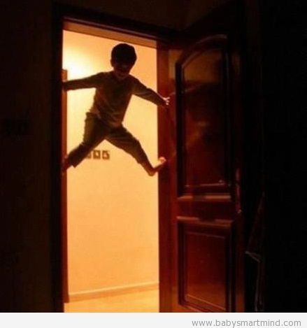 funny door spiderman kid
