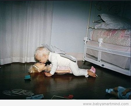 funny baby kiss