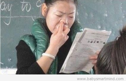 funny nose picking teacher