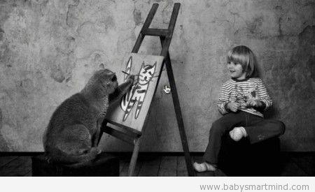 funny cat draw human